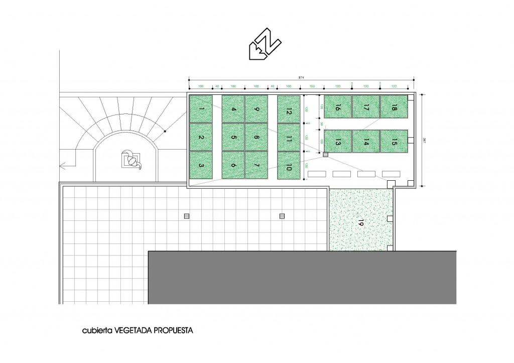Disposición de vegetación para el estudio de cubierta verde